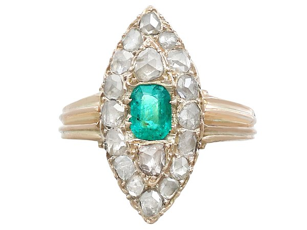 Antique 0.42 ct Emerald and 1.78 ct Diamond, 9 ct Yellow Gold Marquise Ring