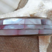 Vintage 70's Bangle Bracelet Shell Inlaid on Brass Pink Mother of Pearl Retro