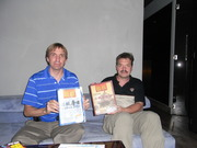 John and Chrisitan holding the world's first Chinese wargaming magazine Premier and Nr. 2 issues.
