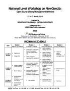 "National Level Workshop    on ""NewGenLib: Open Source Library Management Software"