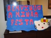 cartel de bienvenida de hello kitty