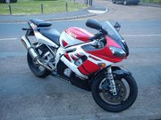 His R6 motorbike with its new fairings x