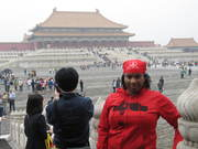 Jeannie Brown Johnson in China's Forbidden City in red DAP hoodie (Sept. 2011)