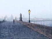 Praga ponte san Carlo sotto la pioggia
