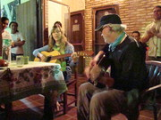 Playing with Chris Hedge at our farewell dinner