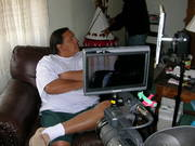 Interviewing a resident of Pine Ridge