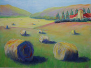 Hay Bales , Acrylic 9x12  on paper 112215