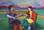 Strings in Jackson WY 14x21 in acrylic on paper