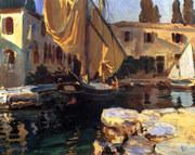 San Vigilio. A Boat With Golden Sail