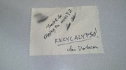 Autograph on Paper Towel (names blotted out)