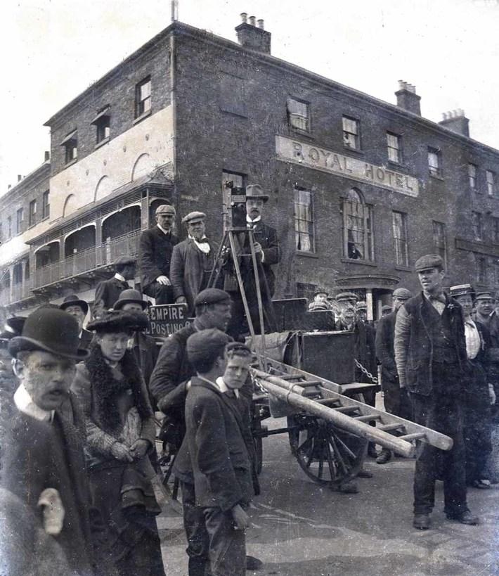 Jasper Redfern filming from a borrowed cart