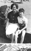 My mother and I at Bognor Regis 1934 taken by a photographer on the beach