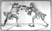 "Above: Illustration of a black fencer making a ""pass in tierce with the knuckles up,"" while checking the adversary's blade with his unarmed hand. Source:www.truefork.org."