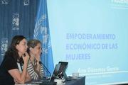 Ana Güezmez, Representante de ONUMujeres  y Claudia Calvin, Fundadora de Mujeres Construyendo