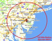 PDQIE Service Area Map 100 Mile Radius 08021