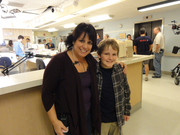 """Cooper and Julie on the set of """"Childrens Hospital"""""""