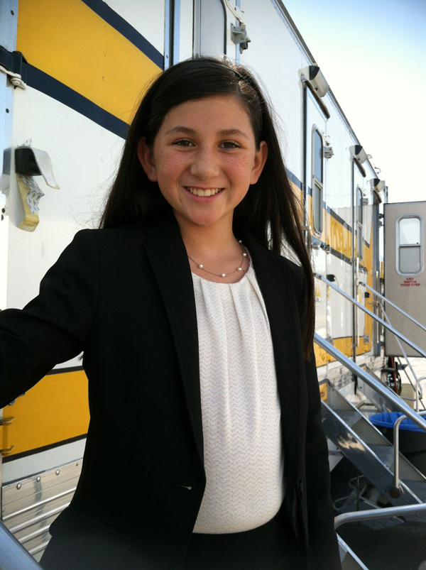 "Grace Santa Maria on set of ""Newsreaders"""