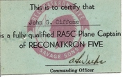 RVAH-5 RA5C Plane Captain Identification Card
