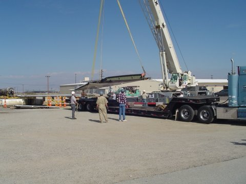 9Wing Halves being loaded on second truck, China Lake