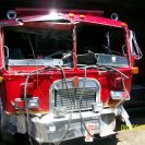Choque de un camion de volteo contra una Maquina de Bomberos y una Ambulacia