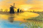 Windmühlen am Wasser