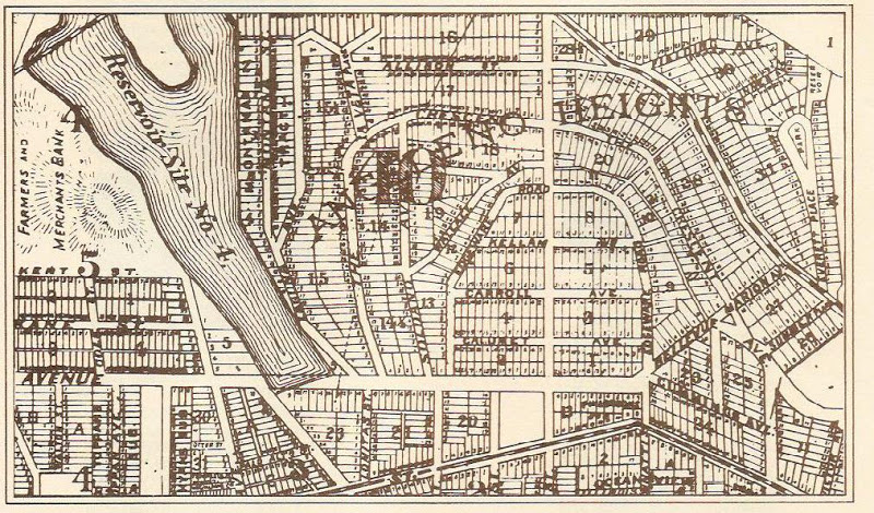 1887 Angeleno Heights  map showing Reservoir No. 4 – now Echo Park Lake