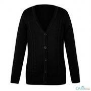 Deep Black Girls School Cardigan Supplier
