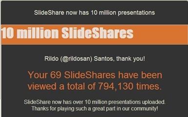 O slideshare.net chegou a 10 milhões de apresentações