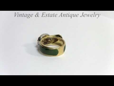 Green Enamel Belt Ring 18K Yellow Gold Diamonds Vintage Ring