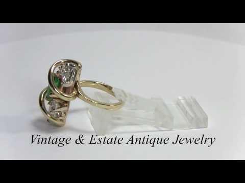 Emerald Diamond Gold Ring FG/VS Diamonds Emerald Ring