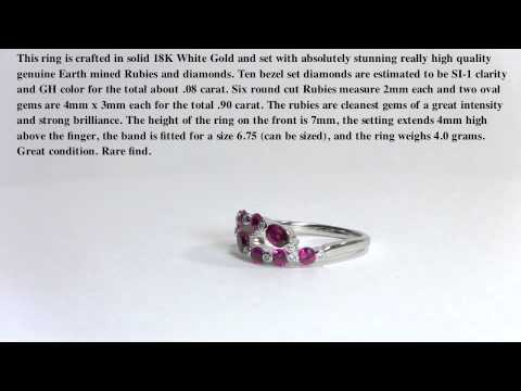 Ruby and Diamond Ring - 18K white gold- Estate Jewelry Ring