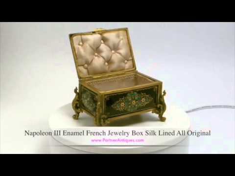 Napoleon III Enamel French Jewelry Box Silk Lined All Original