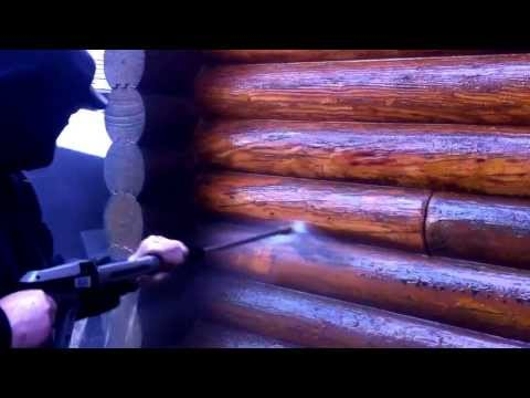 Log home power wash with stripper