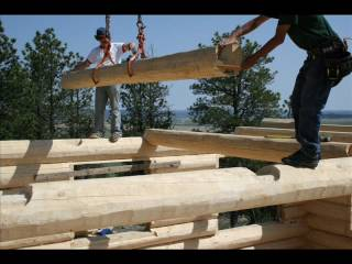 Avalon Log Home Log Home Raising Montana bldg 1 NM 434