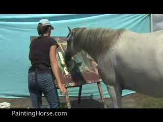 Horses taught to paint
