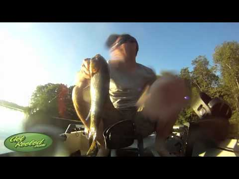 Smallmouth Bass - Smallmouth  jumps in boat - 2 times! - GetREELed