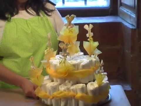 Como hacer un pastel de pañales BABY SHOWER DE CONEJITOS