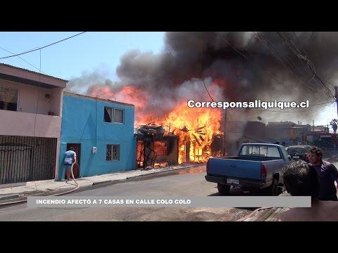 INCENDIO AFECTÓ A 7 CASAS EN CALLE COLO COLO EN IQUIQUE - CHILE