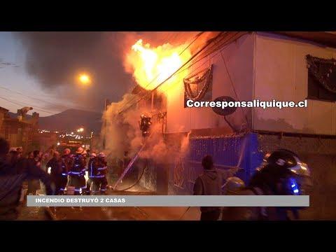 VORAZ INCENDIO DESTRUYÓ 2 CASAS EN IQUIQUE - CHILE