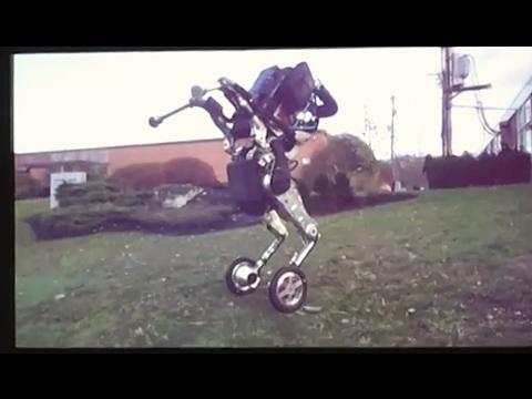 "Boston Dynamics ""nightmare inducing"" wheeled robot ""Handle"",  presentation video close-up   2017"
