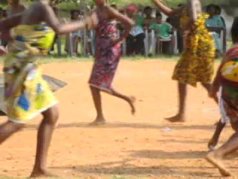 Ghanaian schoolgirls performing Ghanaian Dance