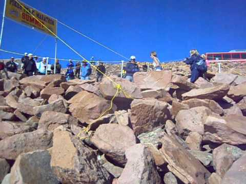 Alex Nichols at the summit in the Pikes Peak Marathon