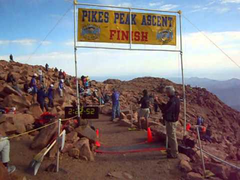 Greg Ruckman hits the Pikes Peak Ascent finish line in second place