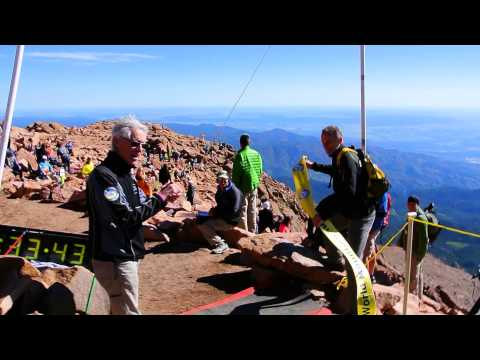 Allie McLaughlin hits the summit finish line to win the 2014 Pikes Peak Ascent