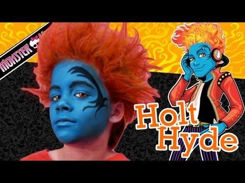 Holt Hyde Monster High Doll Costume Makeup Tutorial for Halloween