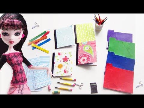 How to make doll school supplies - 10 crafts in 1  pencils, notebooks, eraser, scissors,glue,  etc
