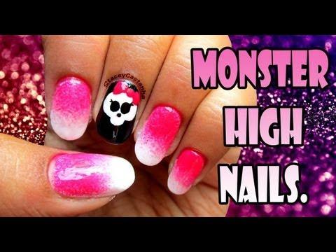 Monster High Logo Inspired nails | Tutorial