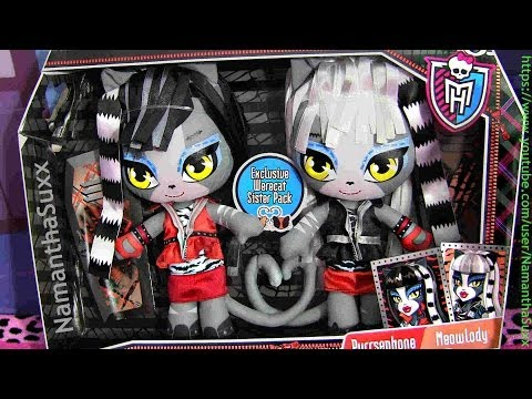 MONSTER HIGH WERECAT PLUSHIES PURRSEPHONE & MEOWLODY REVIEW VIDEO!!!