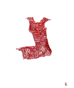 1 Woman Red Strippes Dress