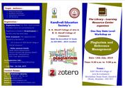 One Day State Level Workshop on Plagiarism and Reference Management